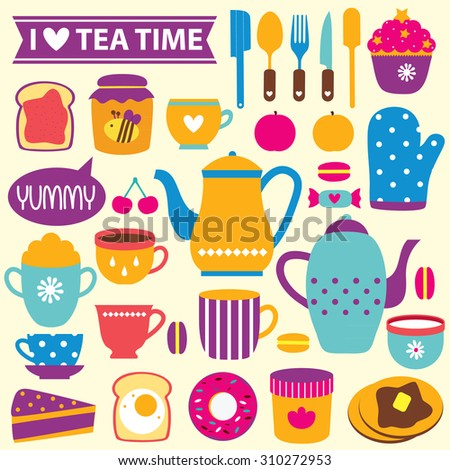 tea time clip art set
