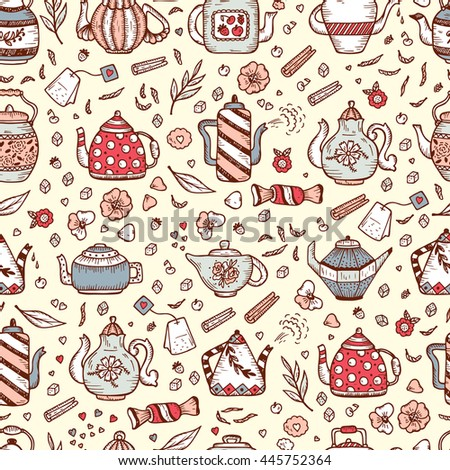Tea Time. Crockery and sweets food. Hand Drawn Doodle Different Teapots and additives for tea Vector Seamless pattern.  - stock vector