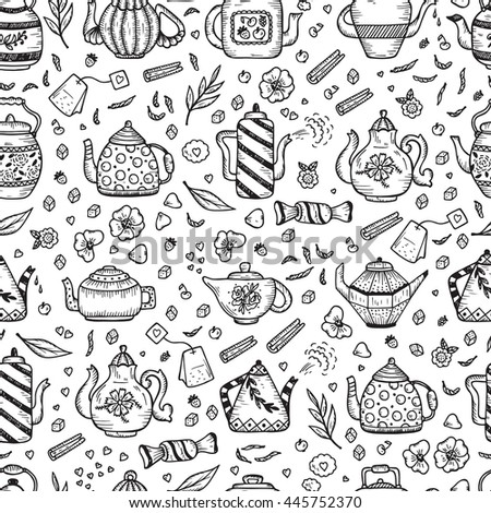 Tea Time. Crockery and sweets food. Hand Drawn Doodle Different Teapots and additives for tea Vector Seamless pattern.