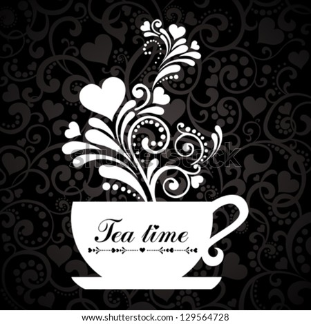 Tea time. Cup with floral design elements.  vector Illustration - stock vector
