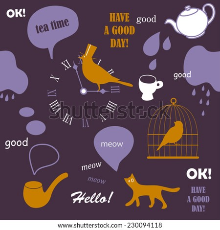 tea time english pattern with cat - stock vector
