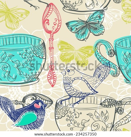 Tea time illustration with flowers and bird, beautiful background for your design, seamless pattern - stock vector