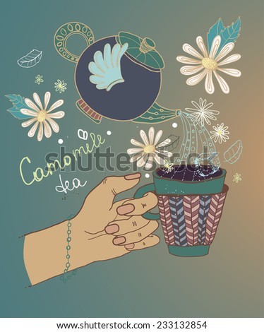 Tea time illustration with flowers and teapot, beautiful background for your design - stock vector