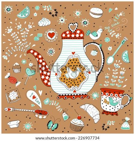 Tea time. Menu for restaurant, cafe, bar, coffee house. Vector illustration.  - stock vector