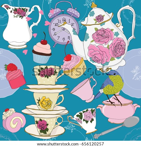 Tea time party vector illustration