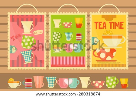 Tea Time Posters. Menu Set. Vector Illustration. - stock vector