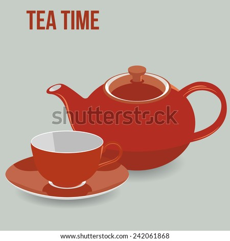 Tea Time Pot and Cup Set, Vector Illustration - stock vector