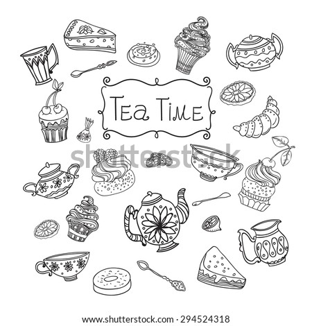 Tea time. Retro set with cups and sweet desserts, hand-drawn vector illustration.