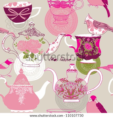 Tea Time Seamless background - stock vector