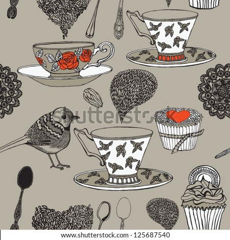 tea time. seamless background - stock vector