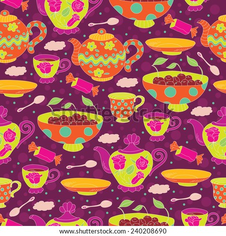 Tea time seamless doodle pattern. Teapots, cups, saucer, spoon, bowl with cherries and candy. - stock vector