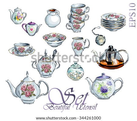 Tea Time Set. Vector hand drawn illustration. Collection utensil.