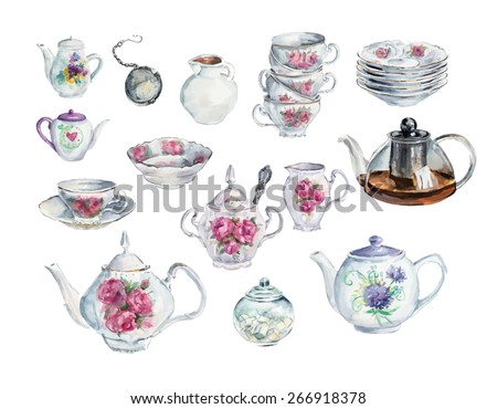 Tea Time Set. Water color hand drawn illustration. Collection utensil. Vector - stock vector