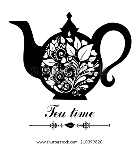 Tea time. Teapot with floral design elements. Teapot silhouette isolated on White background. Restaurant menu or Invitation. Vector illustration  - stock vector