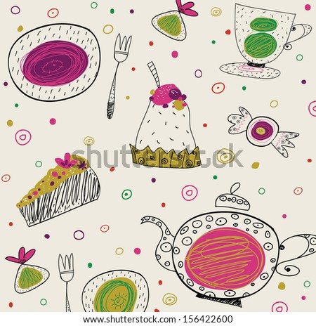 Tea time template design, vector set.Vector illustration made of sweets. Retro card made of candy, sweets, and tea things. Bright summer outlines made from tea things. Let's tea! - stock vector