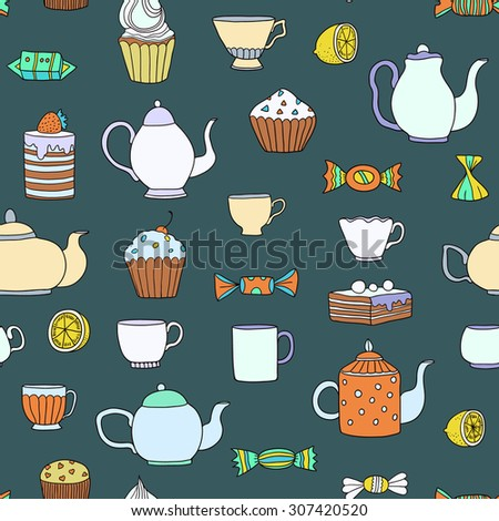 Tea time vector seamless hand drawn colorful pattern.