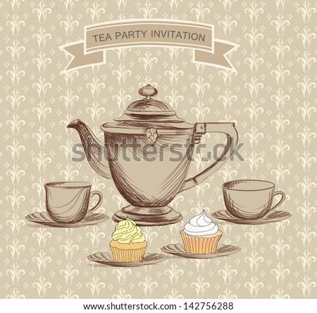 Tea time vintage label. - stock vector