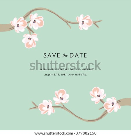 Tea tree - Save the date invitation - stock vector
