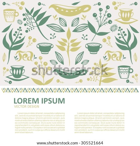 Tea vector concept with hand drawn mugs, tea, tea leaves, berries, ethnic patterns, the word tea. Great for healthy magazines, cooking web sites and restaurant newsletters. - stock vector