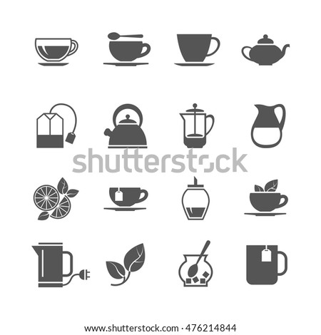 Tea vector icons. Hot beverage with sugar and lemon illustration