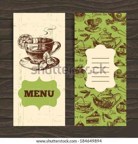 Tea vintage banners. Hand drawn sketch illustration. Menu design - stock vector