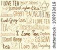 Tea words sketchy doodles vector - stock vector