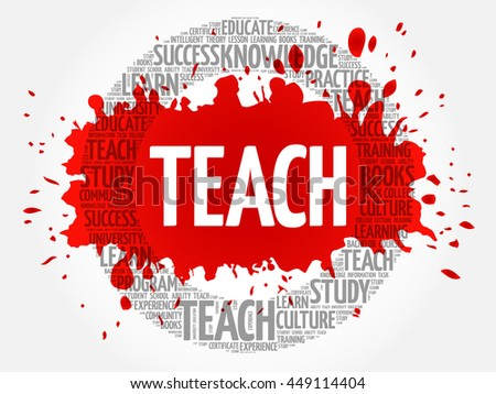 TEACH word cloud collage, education concept background - stock vector