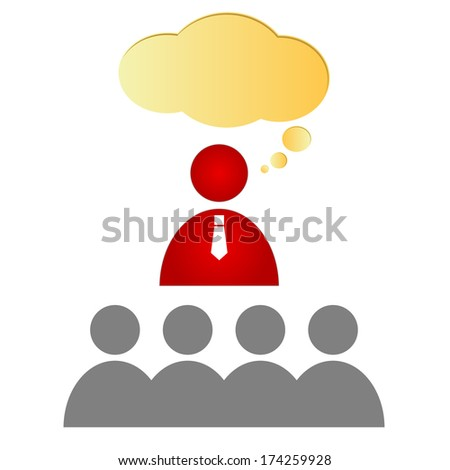 Teacher and a class on a white background - stock vector