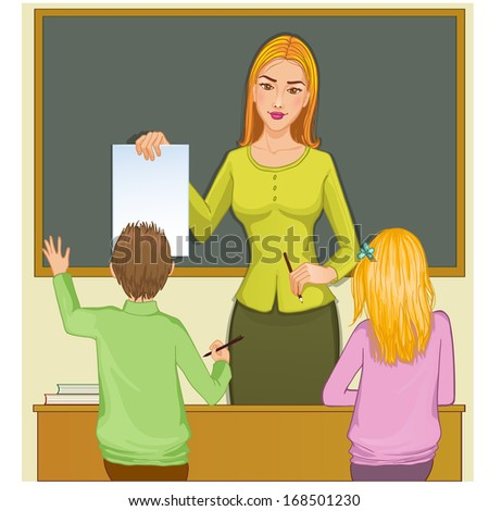 Teacher and children at blackboard, eps10 - stock vector