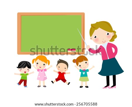 Teacher and student - stock vector