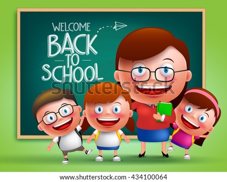 Teacher and students vector characters in front of classroom with chalk board at the back with back to school written. Vector illustration  - stock vector