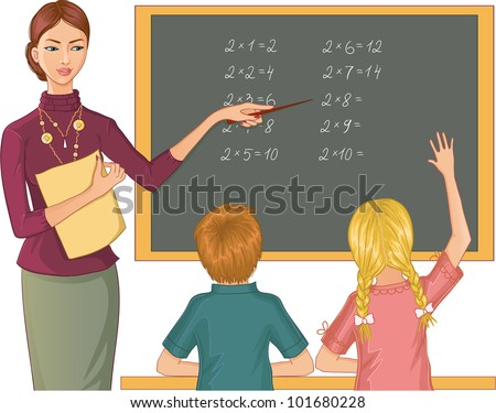 Teacher at blackboard explains children mathematics. Vector image of a young teacher who points to mathematical exercises and asks boy and girl - stock vector