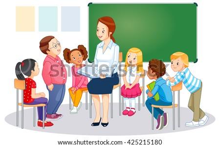 Teacher at blackboard in classroom with children - stock vector
