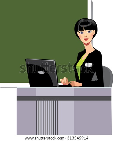 teacher at the blackboard with a notebook - stock vector