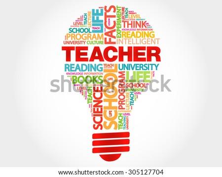 TEACHER bulb word cloud, business concept - stock vector