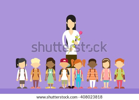 Teacher Day Holiday Woman Hold Flower With School Children Group Flat Vector Illustration - stock vector