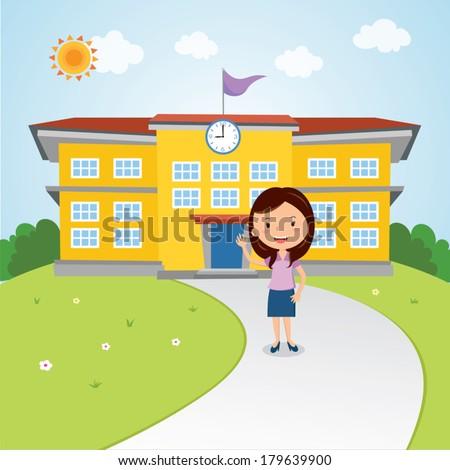 Teacher gesturing in front of the school building . Welcome back to school! - stock vector