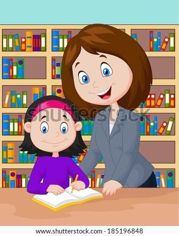 Teacher helping pupil studying - stock vector
