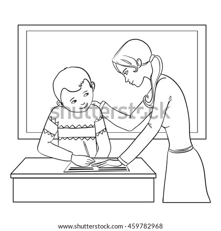 Teacher helps a boy in classroom to resolve tasks during lesson, vector image, outline