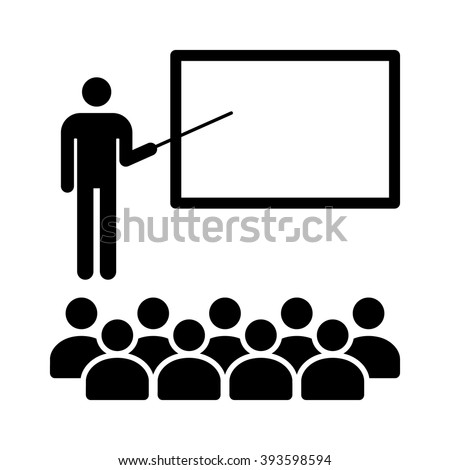 Teacher holding stick in classroom with students flat icon for education apps and websites - stock vector