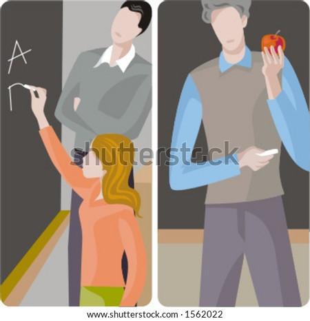 Teacher illustrations series.  1) An elementary school teacher and a student girl, writing alphabet on a blackboard. 2) General classes school teacher teaching a class in a classroom. - stock vector