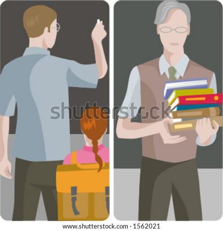 Teacher illustrations series.  1) An elementary school teacher writing on a blackboard in a classroom. 2) General classes school teacher in a classroom. - stock vector