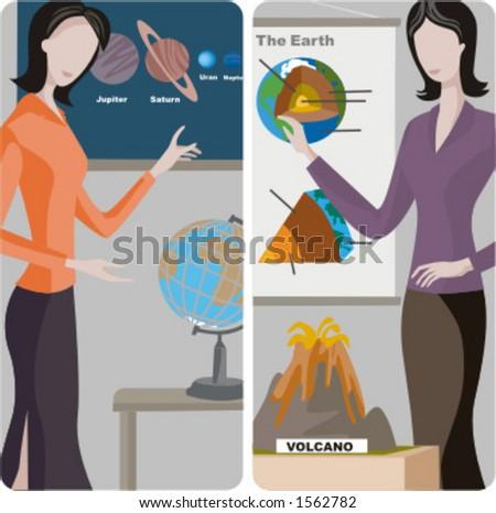 Teacher illustrations series.  1) Astronomy teacher teaching a class in a classroom. 2) Geography teacher teaching a lesson in a classroom. - stock vector