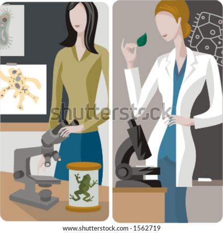 Teacher illustrations series. 1) Biology teacher using a microscope in a classroom. 2) Biology teacher using a microscope in a classroom. - stock vector