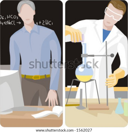 Teacher illustrations series.  1) Chemistry teacher working with computer in a classroom. 2) Chemistry teacher performing an experiment in a classroom. - stock vector