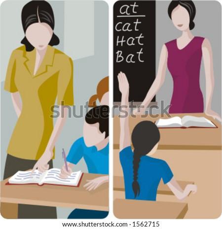 Teacher illustrations series. 1) Elementary teacher looking at a students work. 2) Elementary teacher teaching english in a classroom. - stock vector