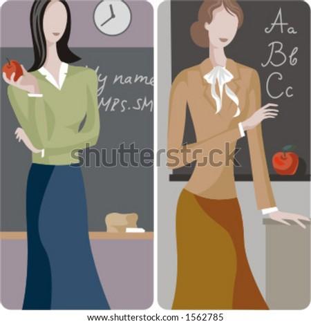 Teacher illustrations series.  1) Elementary teacher teaching english in a classroom. 2) English teacher teaching the alphabet in a classroom. - stock vector