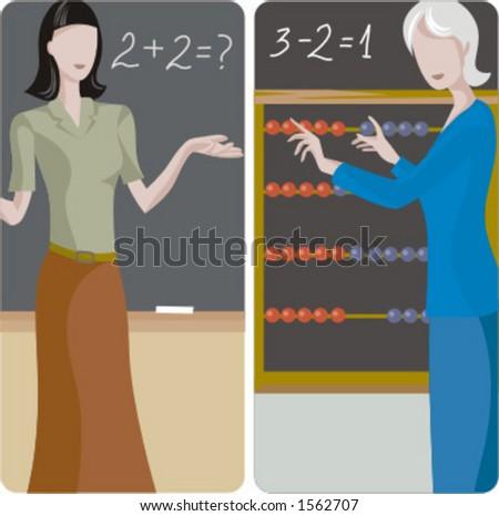 Teacher illustrations series. 1) Elementary teacher teaching math in a classroom. 2) Elementary teacher teaching math in a classroom. - stock vector
