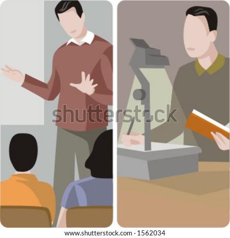 Teacher illustrations series.  1) General class teacher teaching a class in a classroom. 2) Teacher projecting a teaching materials. - stock vector