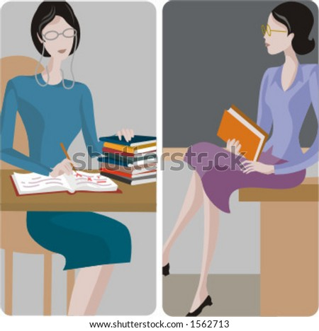 Teacher illustrations series. 1) General classes teacher examining the students tests in a classroom. 2) General classes teacher sitting on a desk in a classroom. - stock vector